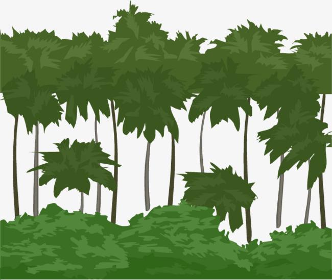 矢量手绘绿色树林