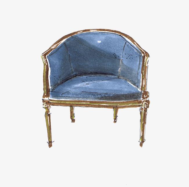 手绘淡蓝色欧式装饰沙发