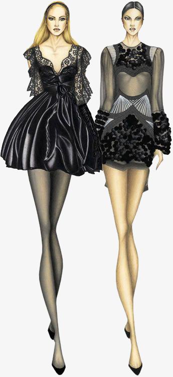 手绘两个黑色时装模特
