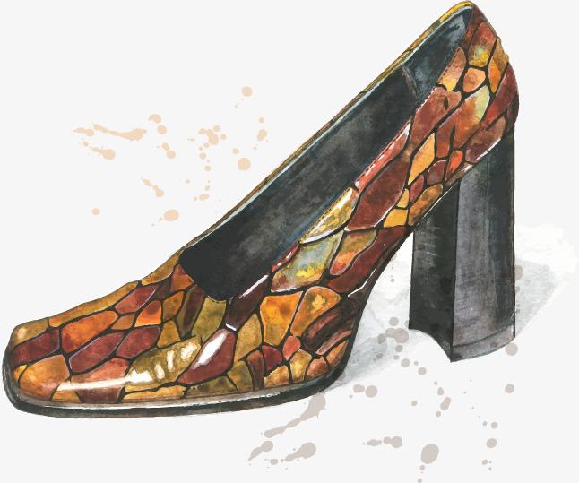 手绘创意蛇纹高跟鞋