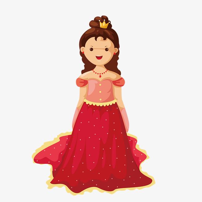 卡通 可爱 手绘 儿童插画 小公主 王冠 肉嘟嘟脸蛋 大眼睛 公主裙