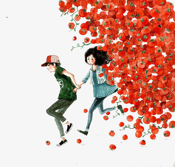 情侣与番茄手绘素材png素材-90设计