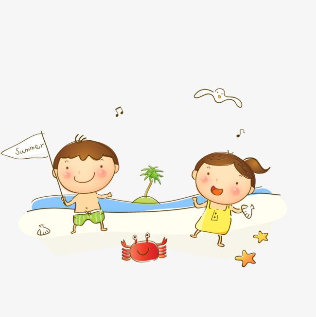 海滩上玩耍的小孩素材图片免费下载_高清卡通手绘psd图片