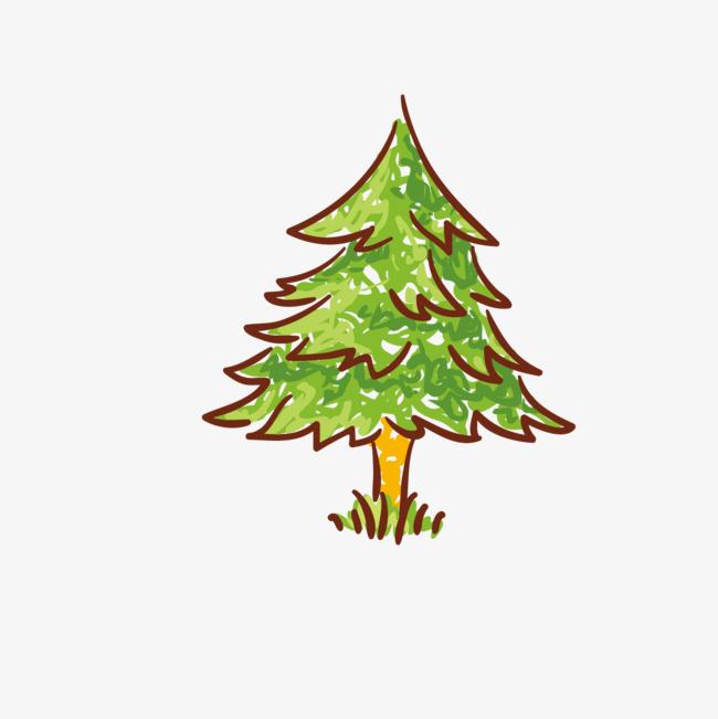 儿童画松树图片
