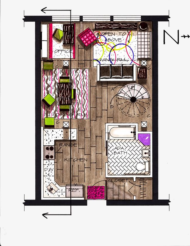 彩色手绘公寓一居室平面效果图