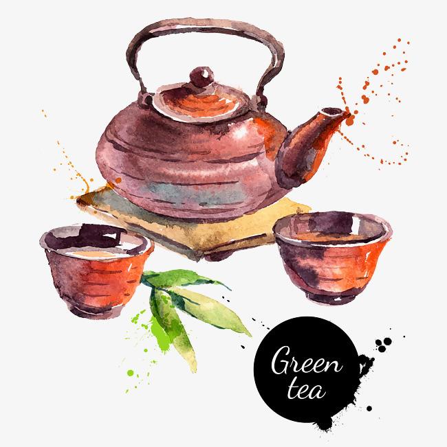 手绘彩色茶壶
