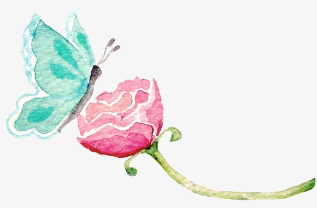 图片 > 【png】 蓝色蝴蝶吻花朵手绘  分类:手绘动漫 类目:其他 格式