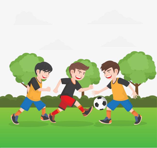 卡通少年踢足球运动素材图图片