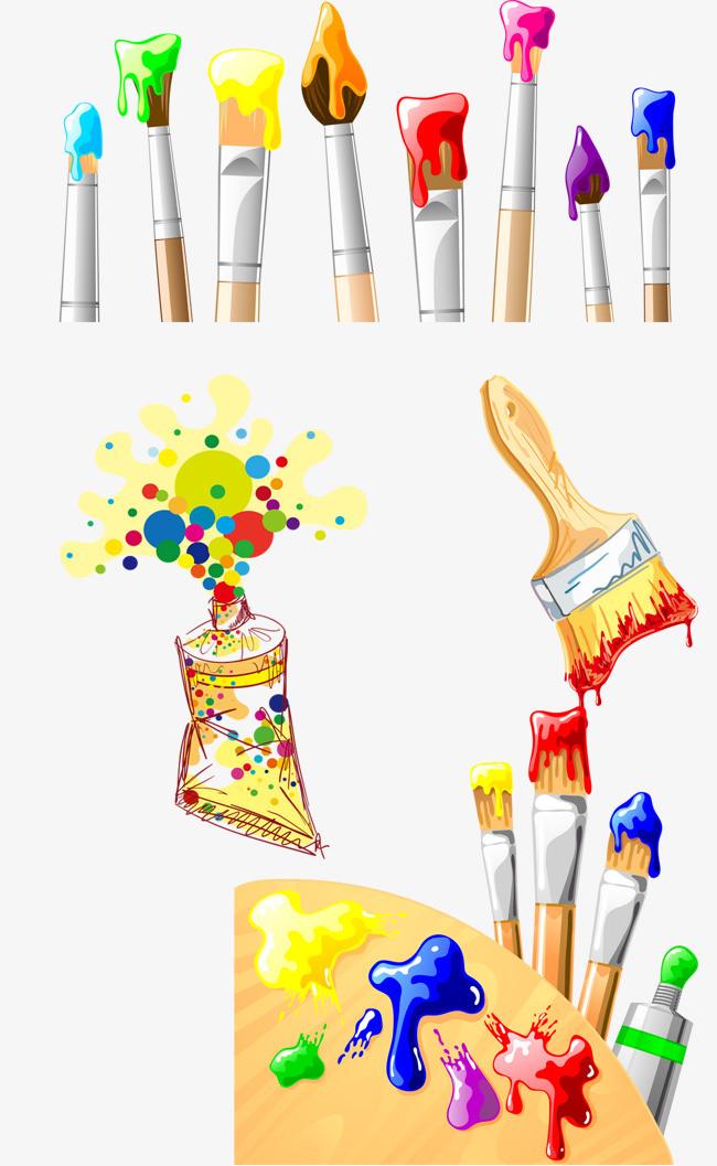水彩画笔颜料刷子png素材-90设计