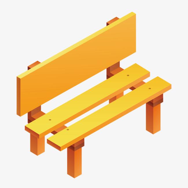 黃色木頭公園長椅