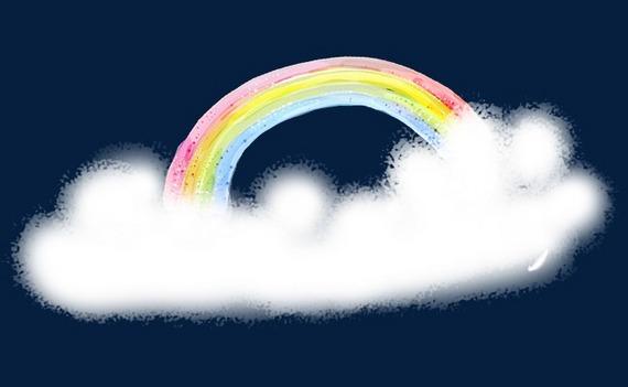 手绘小清新唯美彩虹装饰图案
