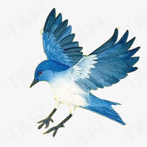 飞鸟展翅素材图片蓝色飞鸟手绘展翅飞翔