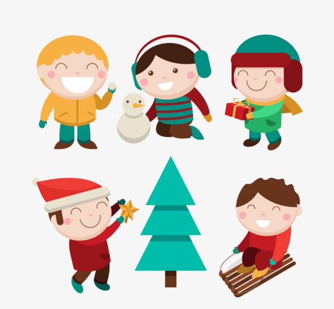卡通小孩冬季玩耍素材图片图片