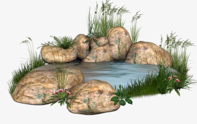 彩绘池塘风景
