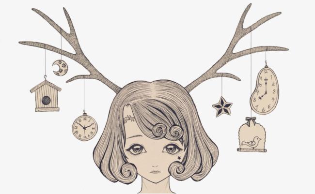 森系鹿角少女