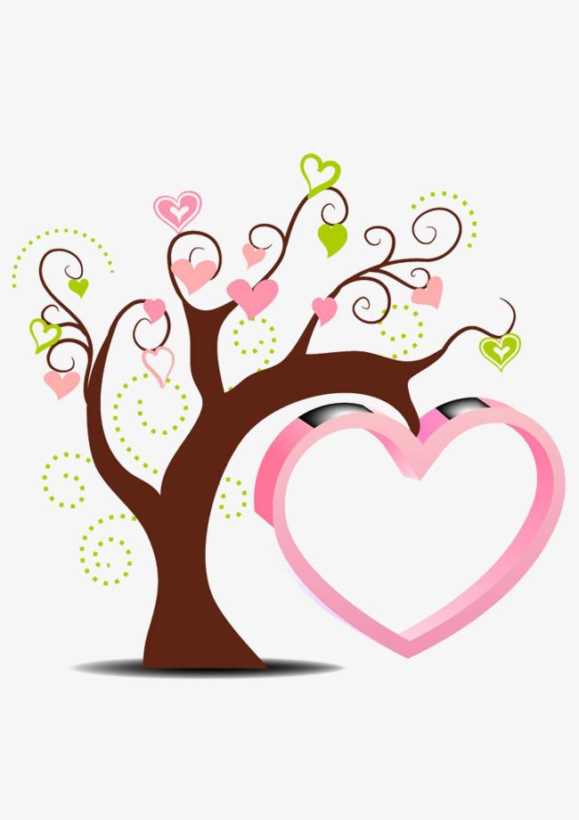 手绘粉色爱心树插画
