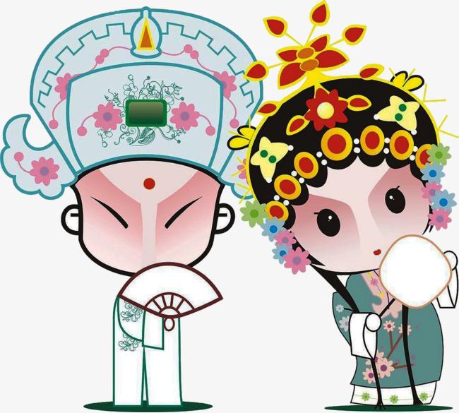 卡通手绘京剧人物