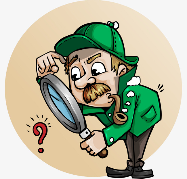 卡通手绘侦探服装老人放大镜