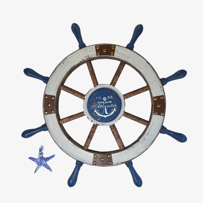 手绘海军风轮船方向盘