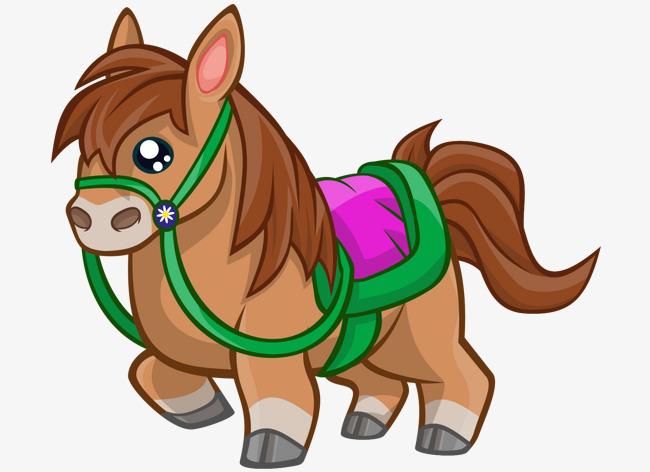 卡通手绘可爱彩色马
