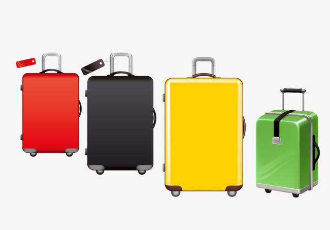 四色手绘皮箱png素材-90设计
