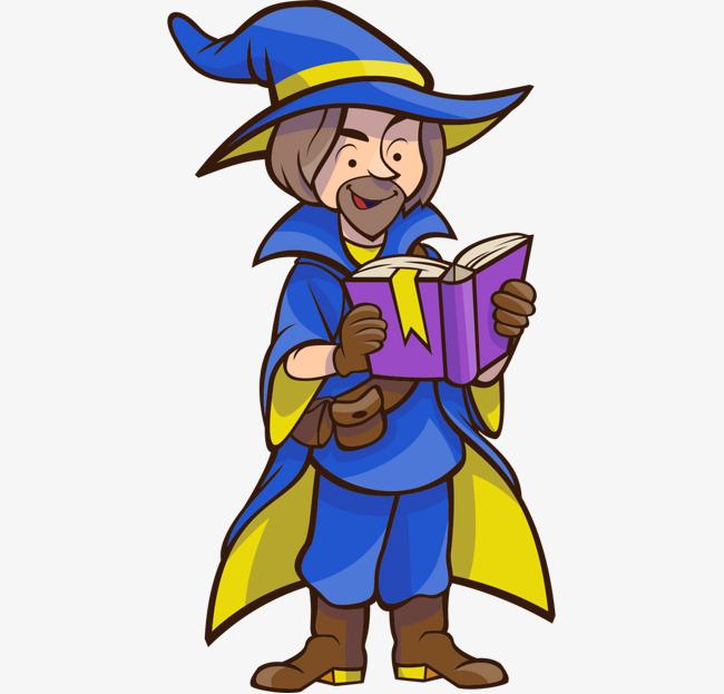 卡通手绘紫色魔法师服装看书