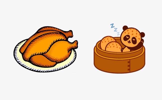 卡通手绘烤鸡
