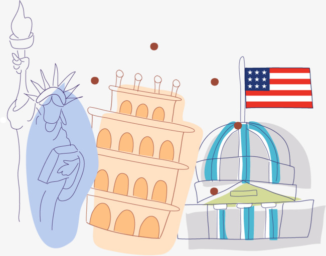 城堡简笔画旅游png矢量素材图片