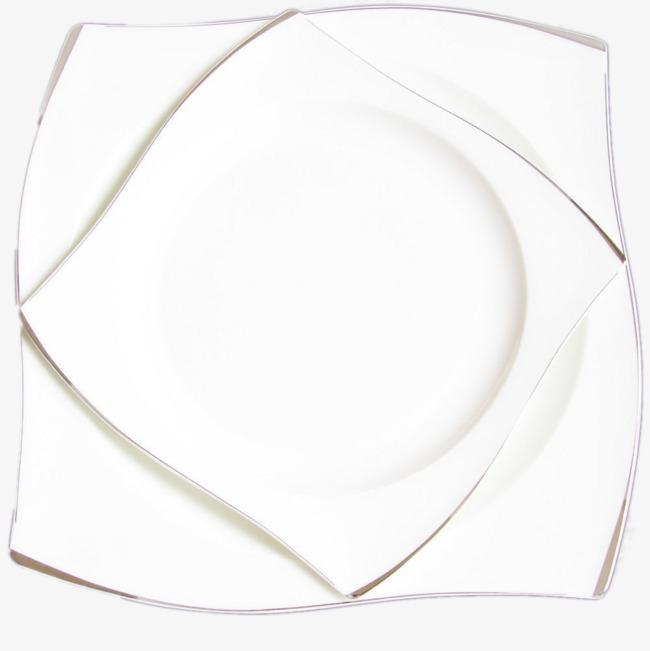 白色方形波纹陶瓷盘子