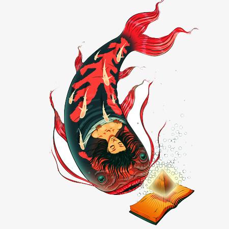 90设计提供高清png手绘动漫素材免费下载,本次另类插画红色锦鲤神话