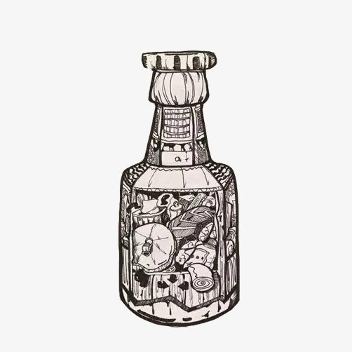 瓶子素描画素材图片