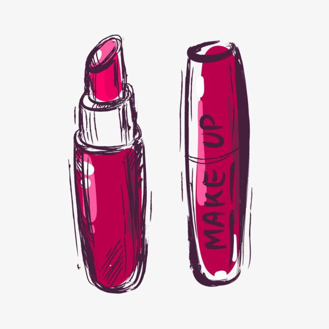 水彩手绘化妆品口红