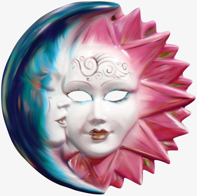 拥抱太阳和月亮的创意面具