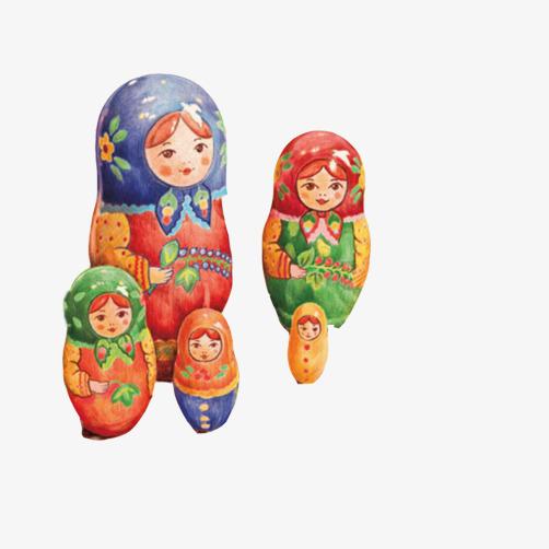 俄罗斯套娃手绘素材图片