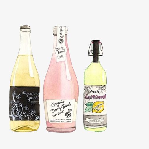酒瓶饮料瓶手绘素材图片