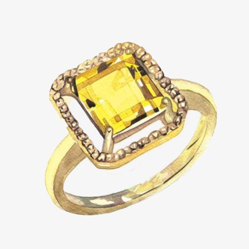 钻石戒指手绘素材图片