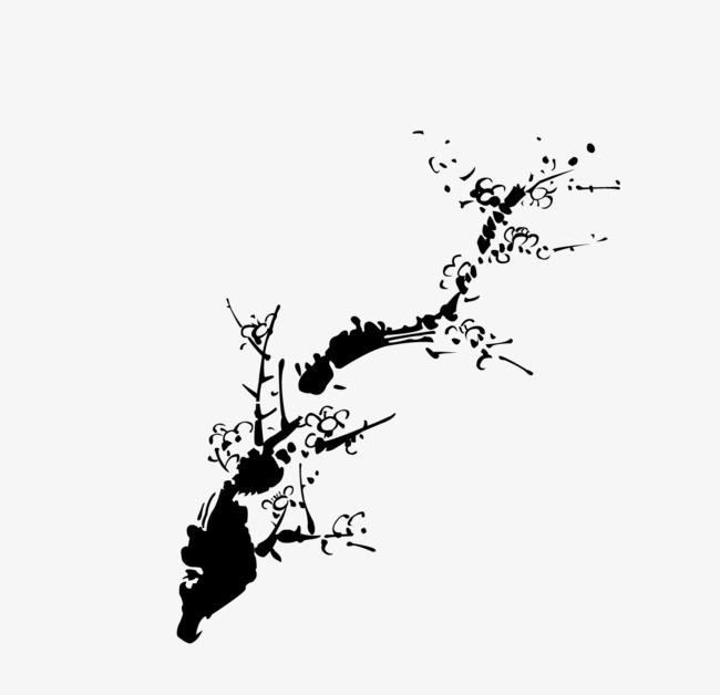 黑白水墨梅花枝干