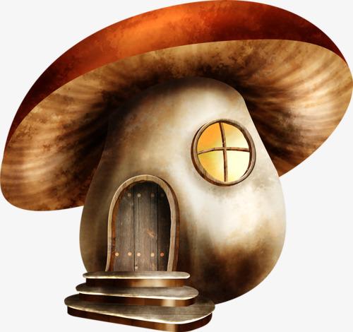 卡通手绘蘑菇屋