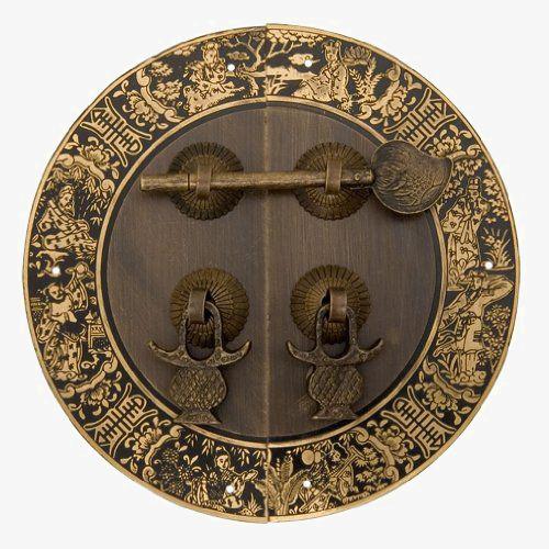 中式圆形黄铜门把儿