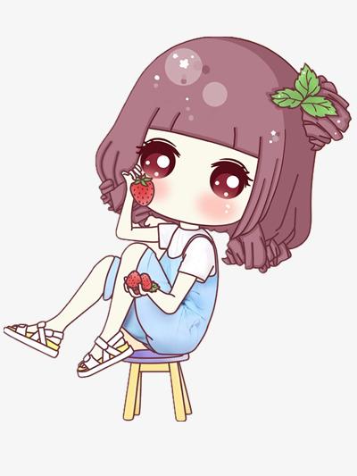 吃草莓的紫色头发女孩图片