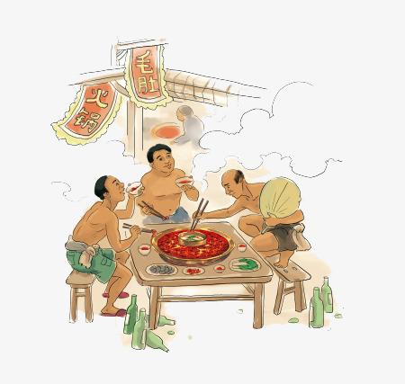 夏天手绘吃火锅