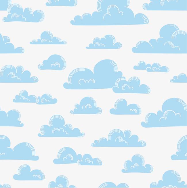 白色手绘云朵无缝背景矢量图