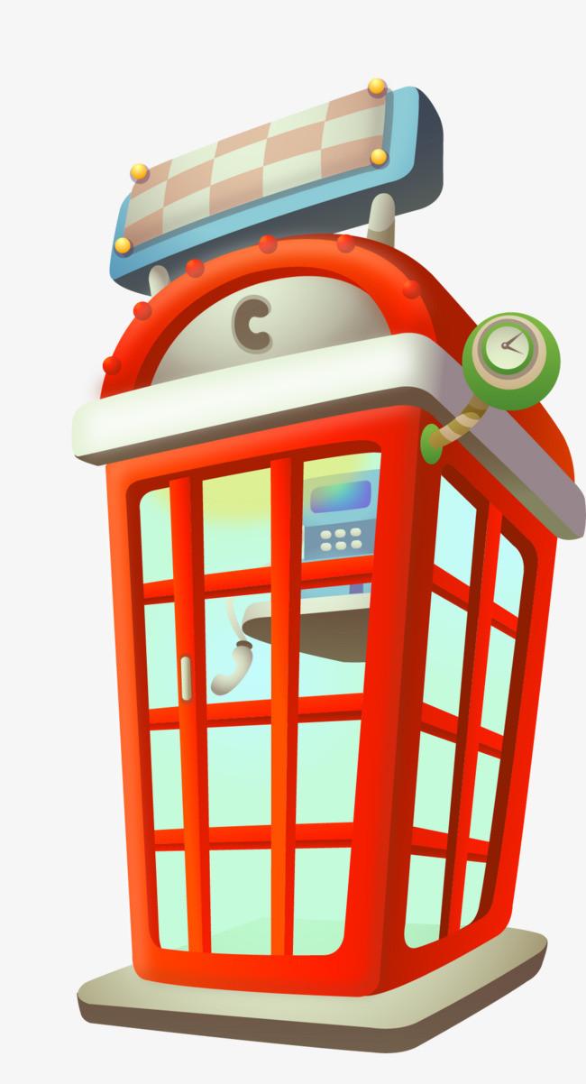 卡通可爱矢量电话亭红色素材图片