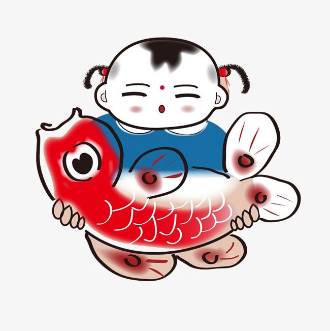 人物 年画娃娃 动物 卡通手绘             此素材是90设计网官方图片