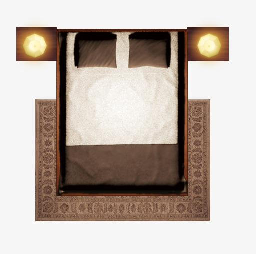 彩平图户型图复古咖啡色床地毯png素材-90设计