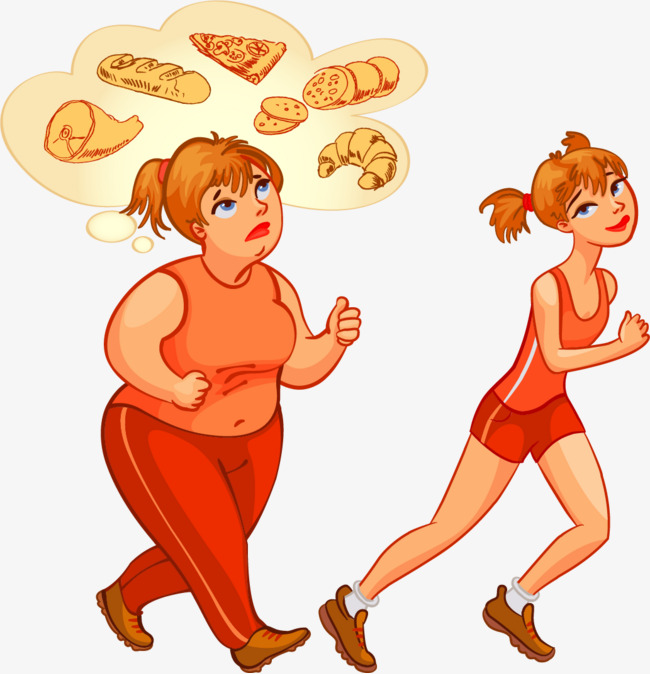 矢量手绘跑步的胖瘦女孩图片