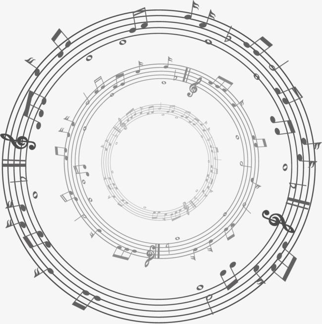 矢量手绘音符圆圈