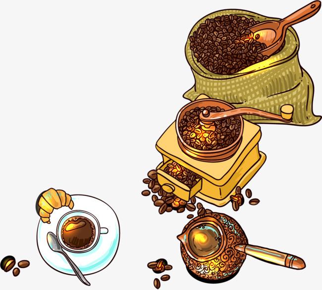 矢量手绘水彩咖啡豆