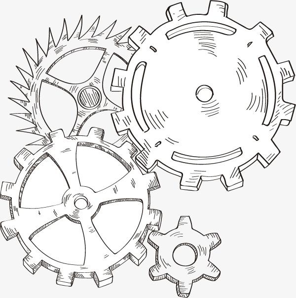 手绘齿轮组设计矢量素材