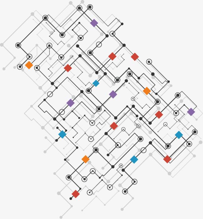 几何电路图png素材-90设计